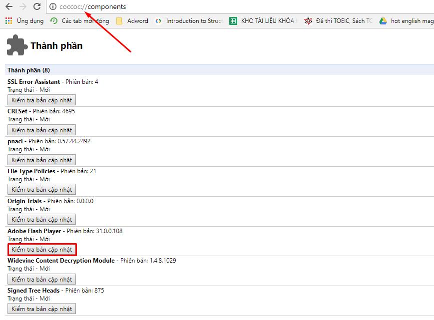 Hướng dẫn sửa lỗi Flash bị chặn do lỗi thời trên Cốc Cốc 1