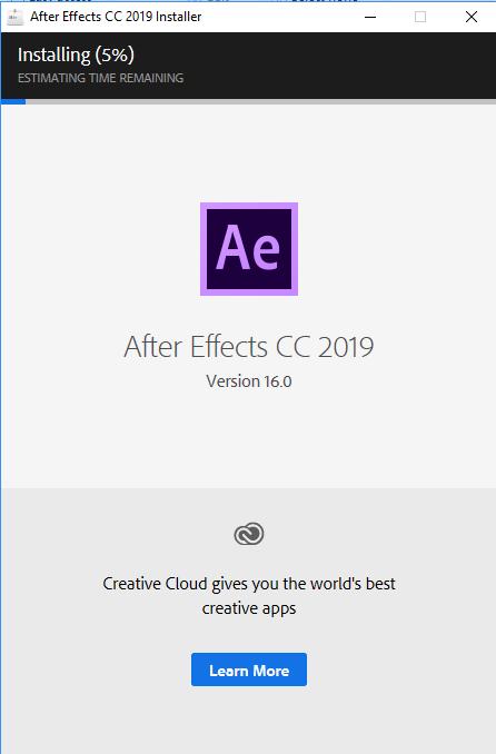 Cài đặt After Effects CC 2019