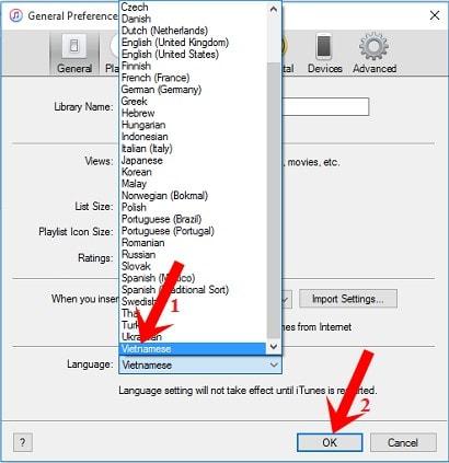 Cài đặt tiếng Việt cho phần mềm iTunes