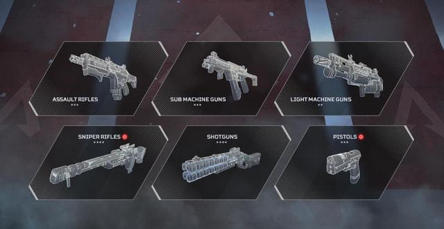 6 Class vũ khí trong game Apex Legends