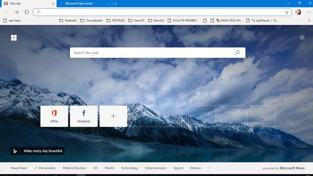 Giao diện trình duyệt Microsoft Edge Chromium