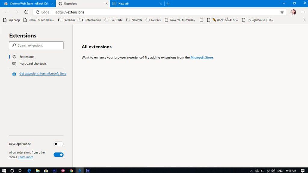 Cài đặt tiện ích trong Microsoft Edge Chromium