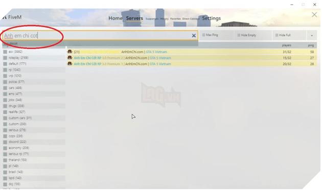Nhập tên server bạn muốn chơi