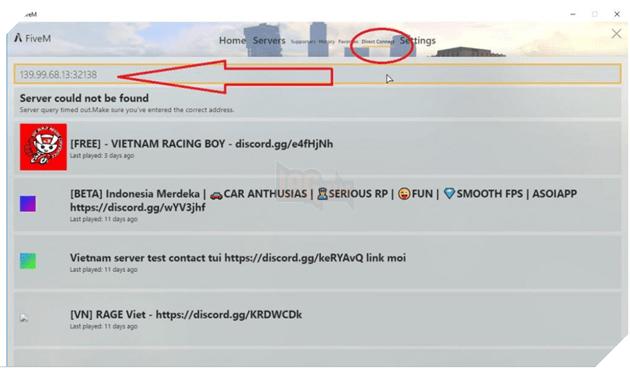 Bạn có thể nhập IP để tìm kiếm server bạn muốn