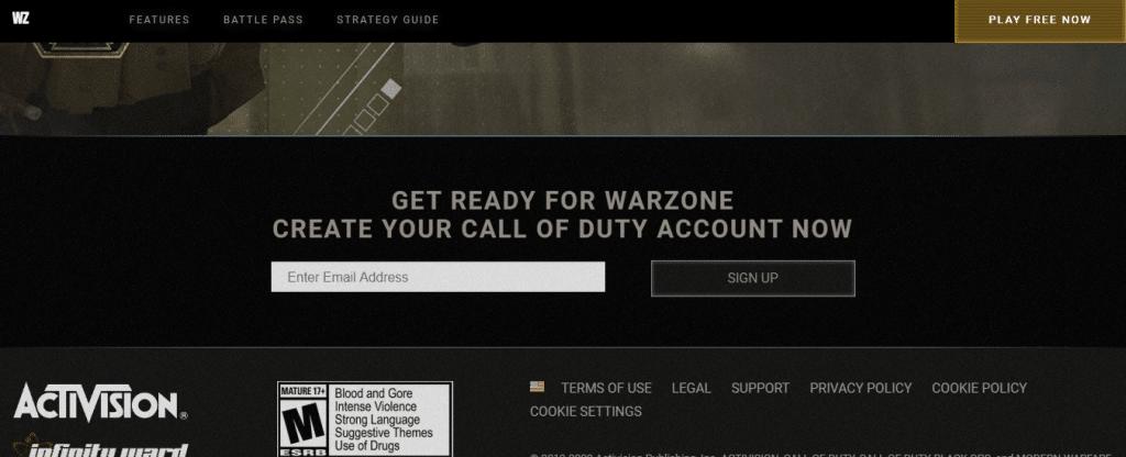 Đăng ký game Call of Duty  Modern Warfare Warzone