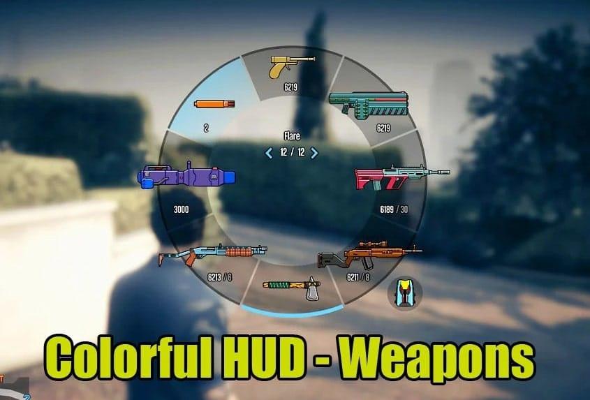 Bản mod GTA V v1.53 Colorful HUD (Weapons) 1.0