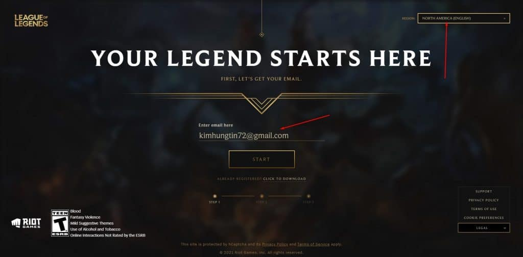 Nhập email để tiến hành đăng ký tài khoản riot games